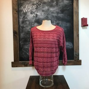 Women's XL mauve colored 3/4 Sleeve sweater